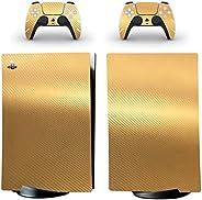 Adventure Games - 碳纤维,金属金 - 乙烯基控制台皮肤贴花贴纸 + 2 个控制器皮肤套装 - 兼容 PlayStation 5 数字版