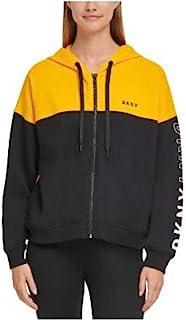 DKNY Sport 色块翻盖标志拉链帽衫, Saffron M