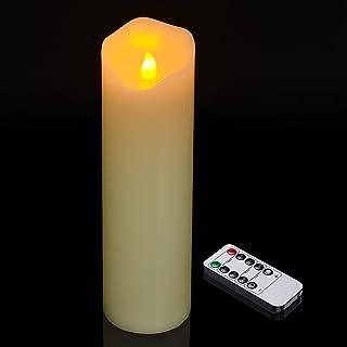 真蜡 LED 柱状蜡烛,Ymenow 1 件 10 英寸(约 25.4 厘米)电池供电蜡烛灯,带遥控闪烁无焰蜡烛,适用于房间婚礼约会装饰