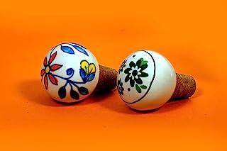 陶瓷瓶塞多色叶子和花卉设计手工橡胶抓握软木瓶塞 - 2 件装