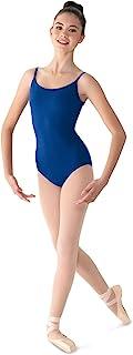 Bloch Mirella 女士经典吊带舞蹈紧身连衣裤,前低圆领,深蓝色,小码