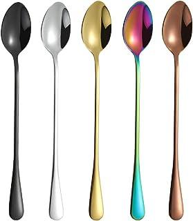 彩色冰茶勺,搅拌勺,搅拌棒勺,鸡尾酒勺,拿铁勺,7.6 英寸,10 件装