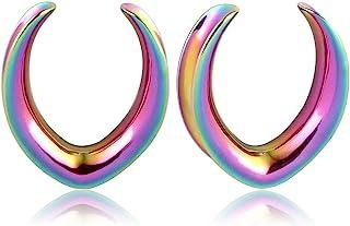 Casvort 2 件新款银色鞍形耳塞穿孔挂钩拉伸时尚穿孔首饰 00g 耳饰 2g-1 英寸