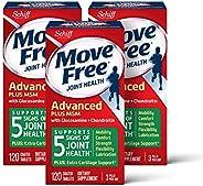 Move Free 益节 氨基葡萄糖和软骨素,MSM先进关节补充片剂,一盒120粒(3盒装),有益于发展移动性,灵活性,能量,润滑性和舒适性