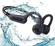 防水骨传导耳机,适用于游泳,无线蓝牙开放式麦克风,IPX8 16GB MP3 播放器运动耳机,双降噪功能,适用于跑步、潜水、骑自行车、健身