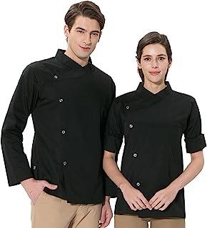 BE THE CHEF Performance 长袖交叉领厨师外套黑色白色适用于餐厅、小酒馆和厨房