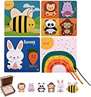 木制拼图适合幼儿。拼图、分层和绳子。4 件装棋盘游戏。Montessori 玩具。女孩和男孩的教育玩具+18 米、2 岁、3 岁。STEM 玩具。抽绳棉质储物袋 - FASHIIKA -