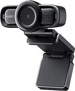 AUKEY 网络摄像头 2K 高清自动灯光调节、手动聚焦和麦克风、实时流式摄像头、用于宽屏视频呼叫和录音的 USB 网络摄像头兼容 Windows、Mac OS 和 Android