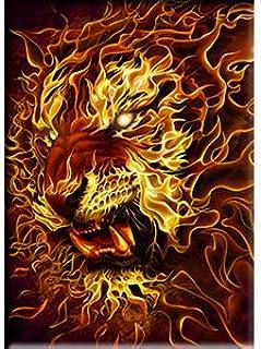 木 Tom Fire Tiger,官方*原创艺术品,优质磁铁 - 6.35 cm x 8.89 cm