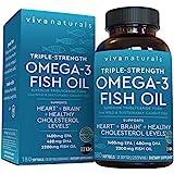 Viva Naturals Omega 3鱼油,Omega 3补充剂,具有EPA和DHA必需酸性油脂组合,三倍强度野生鱼…