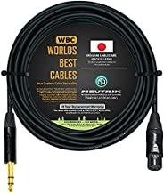 35 英尺 - 四重平衡接线电缆由 WORLDS BEST 电缆定制 - 使用 Mogami 2534 线和 Neutrik NC3FXX-B 母 XLR 和 NP3X-B TRS 立体声电话插头。