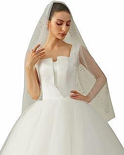 EllieHouse 女式 1 层指尖长度水晶婚礼新娘面纱带梳子 X34