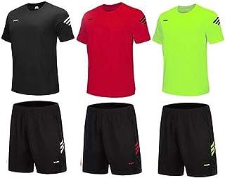 BUYJYA 男士运动短裤衬衫套装 3 件装适用于锻炼篮球足球运动训练跑步