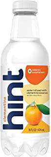 Hint Water Clementine, (Pack of 12) 16 Ounce Bottles, Pure Water Infused with Clementine, Zero Sugar, Sweeteners, Preserva...