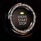 Crystal Bling 汽车徽章贴纸贴花,莱茵石汽车贴纸环 用于按钮和钥匙自动点亮、旋钮、汽车闪耀配件、水晶汽车贴纸…