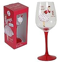 """Mrs Smith Glamourous """"Hello Gorgeous!"""" 18 岁生日红酒杯,展示盒中带有复古艺术品"""