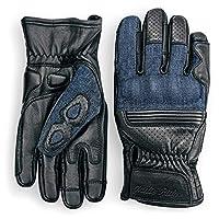 Indie Ridge 牛仔和皮革摩托車手套(黑色)帶移動觸摸屏 X-S 黑色 G-04