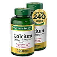Nature's Bounty 自然之宝 钙和维生素D3矿物质补充剂,有益于骨头,1200毫克,120粒软胶囊,2瓶