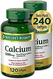 Nature's Bounty 自然之宝 钙和维生素D3矿物质补充剂,有益于骨头,1200毫克,120粒软胶