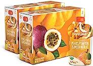 Happy Baby 透明包装的 2 段婴儿食品,梨子、南瓜和百香果组合, 4 盎司(约 113 克)袋装 (16 袋) 可重复密封的婴儿食品袋,果蔬泥,不含麸质,犹太洁食认证。