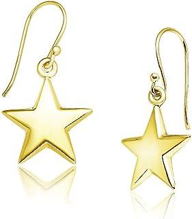Big Apple Hoops - 纯银吊坠耳环,星星