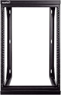 NavePoint 15U 壁挂式 IT 开放式框架 48.26 厘米机架带摆出铰链门黑色