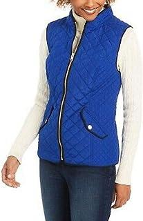 Charter Club 女式绗缝立领背心现代蓝色中号