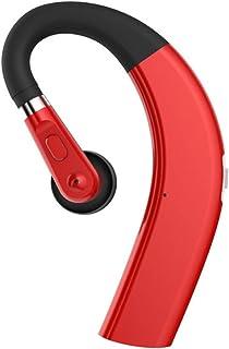 VOANZO 蓝牙耳机迷你高保真耳机挂耳无线蓝牙耳机降噪耳挂立体声耳机带麦克风 - 红色