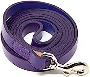 Logical Leather 6 英尺狗绳 - *适合训练 - 重型全粒面皮革牵引绳 - 紫色
