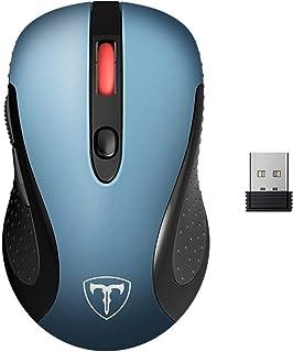 victsing 2.4G 无线鼠标无线光学笔记本鼠标带 USB NANO 接收器6按钮5可调节 DPI 级别15个月电池寿命 蓝色