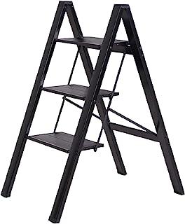 ZUZHII 3 步黑色铝合金轻质折叠凳梯子带防滑扩展踏板,适用于家庭和厨房,350 磅容量