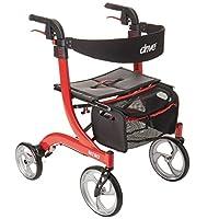 DriveMedicalNitroEuroStyleRedRollatorWalker,老人便攜式輪椅車,紅色