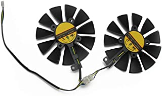 88 毫米 FDC10U12S9-C RX580 RX570 RX470 4 针散热风扇,适用于 AREZ ASUS 华硕 Radeon RX 470 570 580 Expedition OC 显卡散热风扇(2 件)