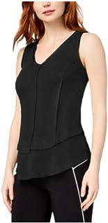 Bar III 女式黑色分层无袖 V 领背心尺码 S
