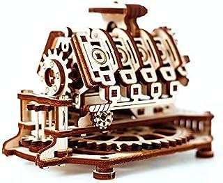 木制城市 V8 引擎带魔法时钟 14 x 10 x 10.7 厘米,木色,均码