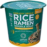 Lotus Foods Garlicky Veggie Rice Ramen Noodle Soup Cup With Freeze-Dried Chunky Veggies, 2.05 Oz, 6Count