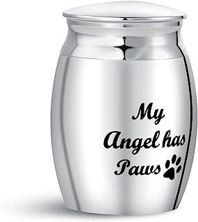 TGLS 小型宠物奶油缸灰烬 My Angel Has Paws 猫狗纪念装饰迷你纪念品缸不锈钢