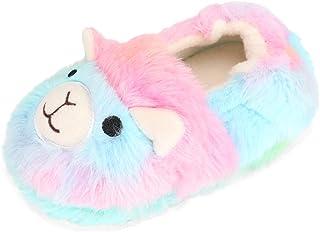 LACOFIA 女孩冬季拖鞋可爱卡通拖鞋男孩温暖毛绒小儿童家居鞋