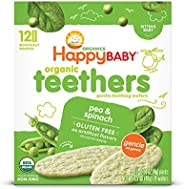 Happy Baby Gentle Teethers Organic 出牙威化饼 豌豆菠菜,为出牙期婴儿提供舒缓的磨牙米饼,轻松溶解,不含麸质,12块(6件)
