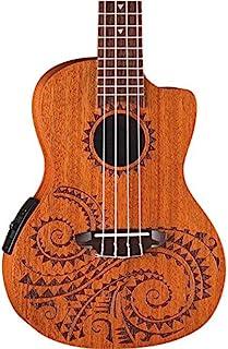 Luna Guitars UKETCSPR 纹身音乐会云杉尤克里里里琴,带琴包UKE TEC MAH Acoustic Electric Right Hand