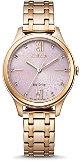 CITIZEN 西铁城女士腕表,指针式,Eco-Drive 光动能驱动,不锈钢表带,EM0503-75x