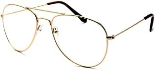 KIDS 儿童飞行员金色金属超大透明镜片眼镜(3-10 岁)