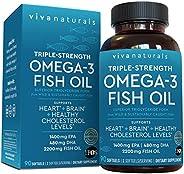 Viva Naturals Omega 3鱼油-Omega 3补充剂,具有EPA和DHA的必需脂肪酸组合,三倍力野生鱼油胶囊(无鱼味儿),90粒