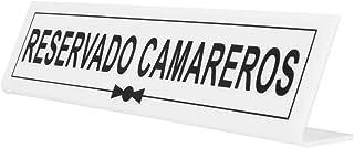 Garcia de Pou 桌标志 Reservado Camareros,26 x 5+5厘米,香水,白色,均码