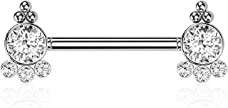 Dynamique 316L *钢无螺纹推入式乳头杠铃,每侧有 4 个方晶锆石和球群(每对出售或单件)