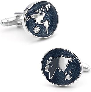 iGame 复古袖扣蓝色世界地图地球仪设计优质黄铜材料袖扣男式礼品盒