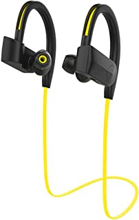 蓝牙耳机,IPX7 防水无线运动耳机,更丰富的低音 HiFi 立体声入耳式耳机,带麦克风,降噪蓝牙耳机,适用于锻炼/跑步/健身房慢跑(黄色)