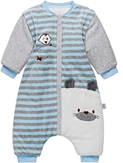 婴儿睡袋 可拆卸袖子 Walker 冬季羊毛睡袋 带脚 可穿戴毛毯襁褓 适合男孩女孩 防踢棉睡袋 带可拆卸袖子 3.5 Tog, 100/2-3 岁