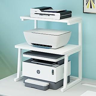 打印机支架桌面打印机桌,书架多功能桌面收纳架,带存储空间,适用于办公室家庭厨房小空间白色(3 层)