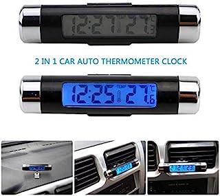 汽车温度时钟通用自动仪表板数字时钟带黑光和 LCD 屏幕,可调节车辆温度计支持 12 小时/24 小时转换模式 - 黑色+银色
